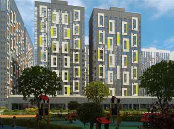 Вид на жилой комплекс с детской площадки